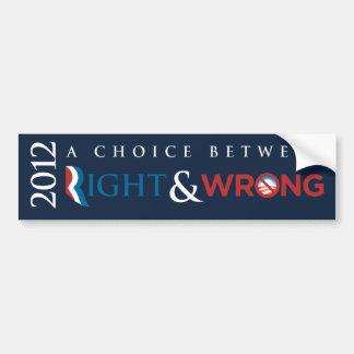 2012 - Opción entre derecho (Romney) y incorrecto  Etiqueta De Parachoque