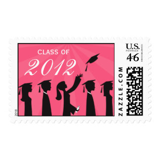 2012 Pink Silhouette Cap and Tassel Graduation Stamp
