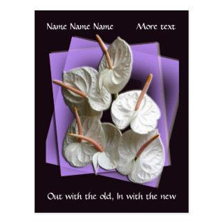 2012 Pocket calendar, Anthuriums on purple Postcard