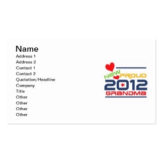 2012 Proud Grandma T-shirts and Gifts Double-Sided Standard Business Cards (Pack Of 100)