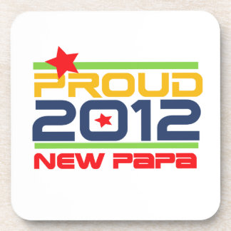 2012 Proud New Papa T-shirts and Gifts Beverage Coaster