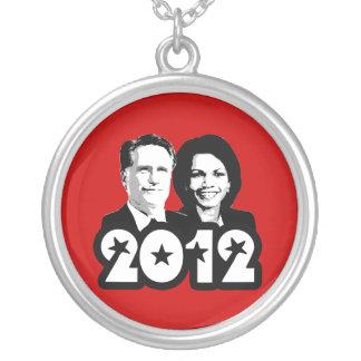 2012 ROMNEY RICE PORTRAIT.png Round Pendant Necklace