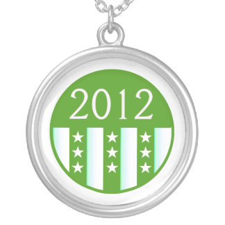 2012 Round Seal Green Color Party Version Silver Plated Necklace