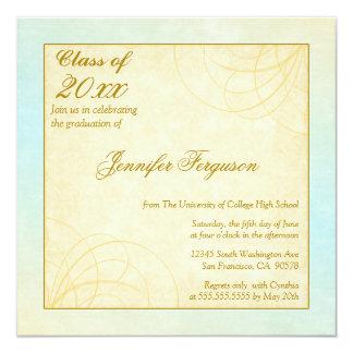 """2012 Soft blue gold swirls graduation party invite 5.25"""" Square Invitation Card"""