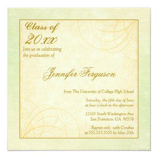 """2012 Soft green gold swirl graduation party invite 5.25"""" Square Invitation Card"""