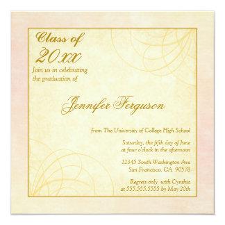 "2012 Soft pink gold swirls graduation party invite 5.25"" Square Invitation Card"