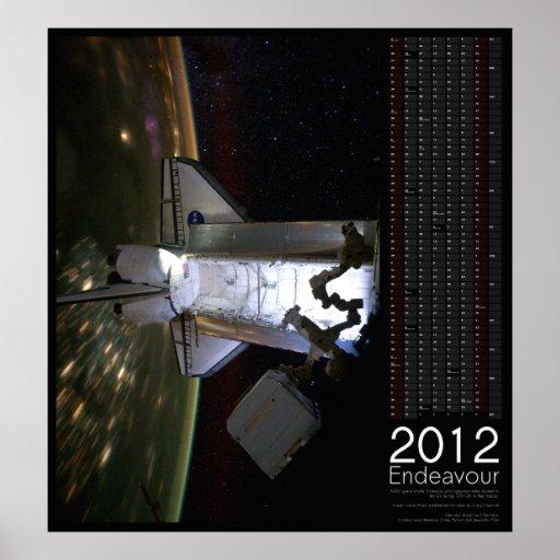 2012 Space Shuttle Endeavour Calendar Poster