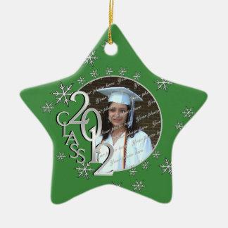 2012 Star Graduate Photo Green Ceramic Ornament