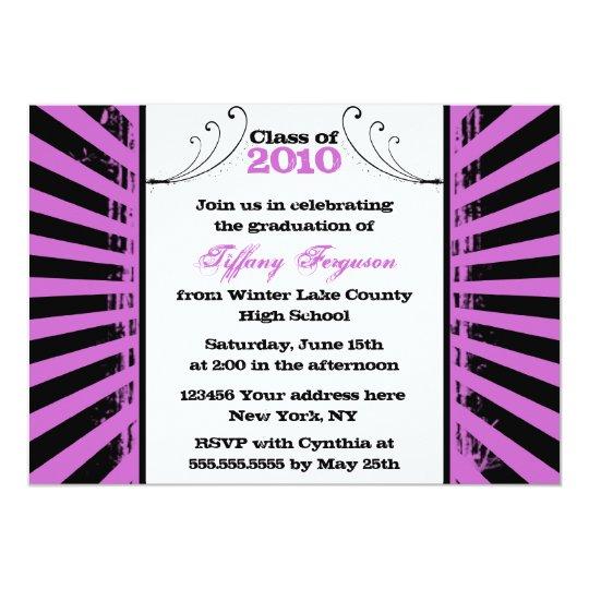 2012 Trendy grunge purple graduation party invite