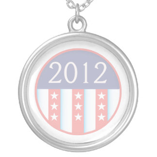 2012 Vote Election Round Seal Red Blue faded Necklace