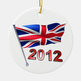 2012 with Britain flag Double-Sided Ceramic Round Christmas Ornament