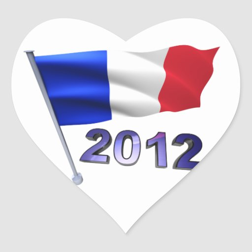 2012 with French flag Heart Sticker