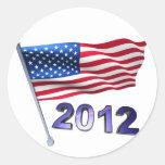 2012 with USA flag Classic Round Sticker