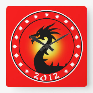 2012 Year of the Dragon Square Wall Clock