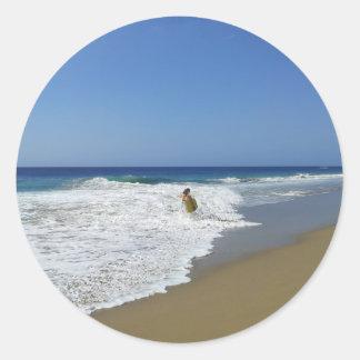 20130215 BODYBOARDING BOGGIEBOARDING SOSUA BEACH O CLASSIC ROUND STICKER