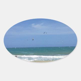 20130813 WINDSURFING CABARETE DOMINICAN REPUBLIC O OVAL STICKER