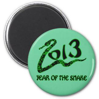 2013 años de la serpiente con la serpiente verde imán redondo 5 cm