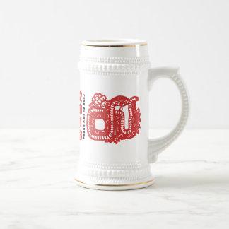2013 años del corte del papel de la serpiente jarra de cerveza