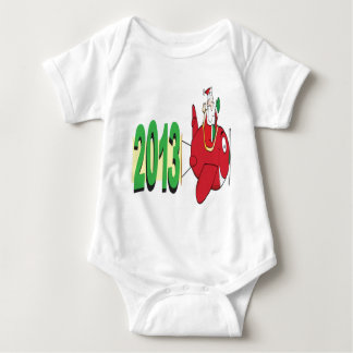 2013 banner pulled by Santa Claus Baby Bodysuit
