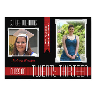 2013 Black & Red Ribbons Graduation Announcement