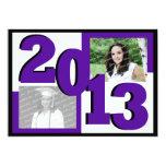2013 Block Grad Twin Photo Purple 5x7 Paper Invitation Card