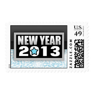 2013 Blue Confetti New Year Postage Stamps