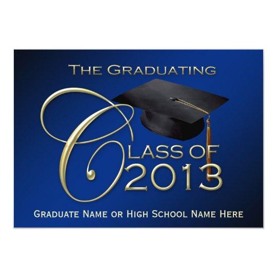 2013 Blue Script Graduation Card