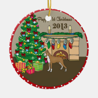 2013 Boxer Puppys First Christmas Ceramic Ornament