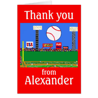 2013 Boys Baseball Personalized Thank You Notes Cards