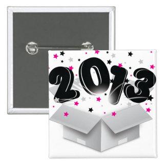 2013 bursting open box new year pinback button