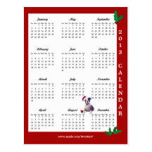 2013 Calendar Bulldog Christmas Wishes Postcard