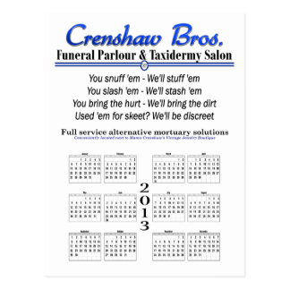 2013 Calendar - Crenshaw's Jingle Post Cards