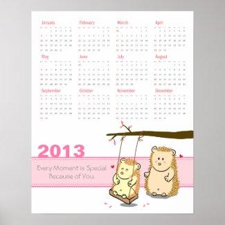 2013 Calendar: Cute Hedgehog couple at tree swing Poster