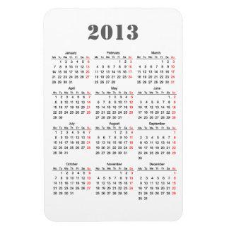2013 Calendar Flexi Magnet