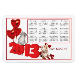 2013 Calendar Hearts and Kittens Flexible Magnet
