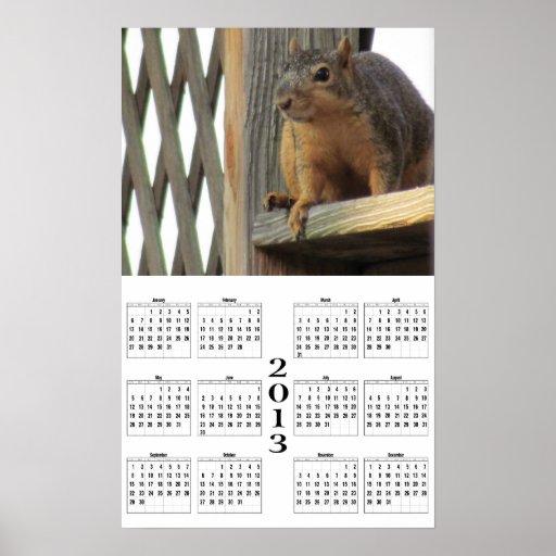 2013 calendario - ardilla de la cubierta poster