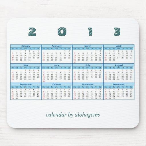 2013 calendario Mousepad Tapete De Raton