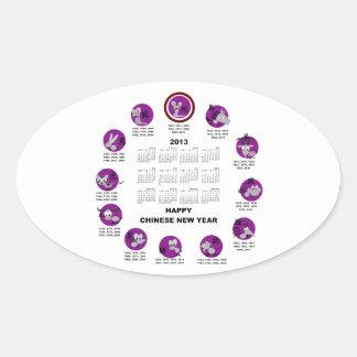 2013 Chinese Zodiac Happy New Year Calendar Oval Sticker