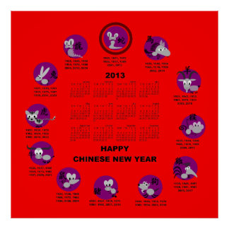 2013 Chinese Zodiac Happy New Year Calendar Rd Bg Poster