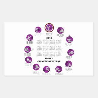2013 Chinese Zodiac Happy New Year Calendar Rectangular Sticker