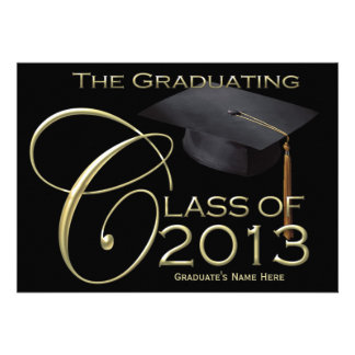 2013 Classic Black Gold Graduation Announcement