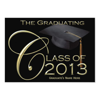 "2013 Classic Black & Gold Graduation Announcement 5"" X 7"" Invitation Card"