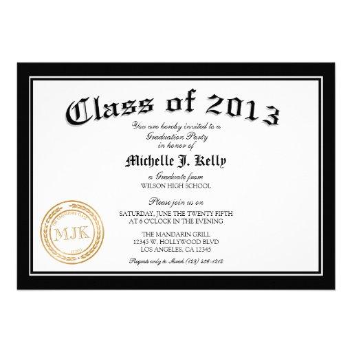2013 Diploma Graduation Party Custom Invites