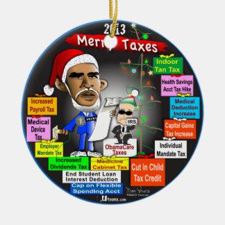 2013 felices impuestos adorno navideño redondo de cerámica