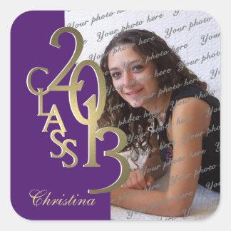 2013 Gold and Purple Graduation Square Sticker