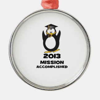 2013 Grad Mission Accomplished Funny Penguin Christmas Ornaments