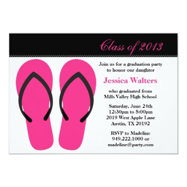 Beach Themed 2013 Graduation Party Pink and Black Flip Flops Card
