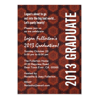 2013 Graduation Red and Black Star Pattern Y196 Card