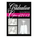 "2013 Graduation Tri Photo Pink and Black 5"" X 7"" Invitation Card"