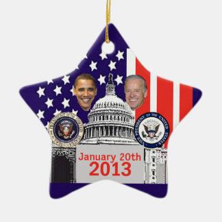 2013 inaugural adorno navideño de cerámica en forma de estrella
